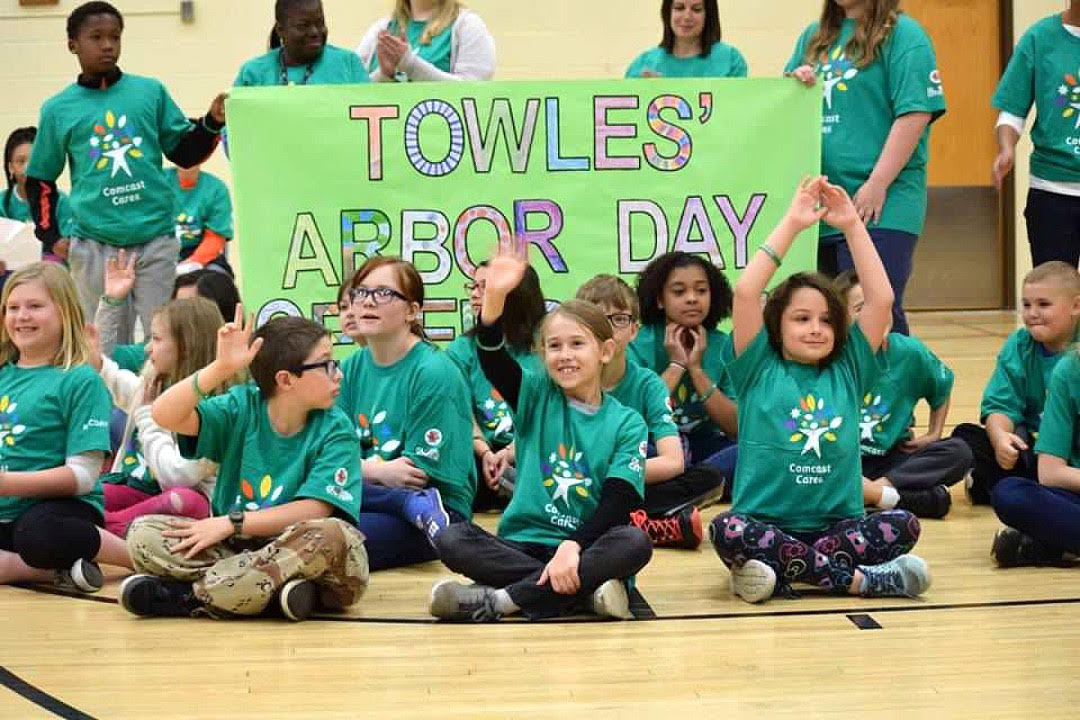 Tree planting, Comcast Cares and city Arbor Day celebration at Towles Elementary